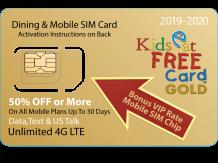 Orlando Kids Eat Free Card GOLD